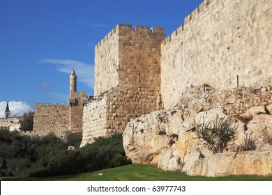 Walls of ancient Jerusalem. Serene autumn day, a sunset