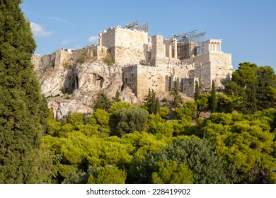Walls of ancient temples of the Acropolis hill, Athens, Greece
