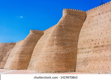 Walls of the Ark of Bukhara in Uzbekistan.