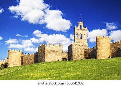 Walls of Avila detail, the belfry of the old monastery of Carmen. Spain, UNESCO list.