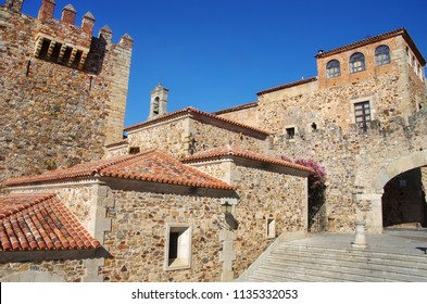 walls of Caceres. View of the old quarter of the city. Spain