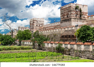 Walls of Constantinople in summer, Istanbul, Turkey. Famous ancient Walls of Constantinople are one of the main landmarks in the city. Constantinople was the capital of the Byzantine Empire.