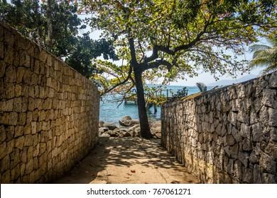 Walls corridor at Praia da Feiticeira Beach - Ilhabela, Sao Paulo, Brazil