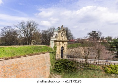 The walls and gate of the old fortress of Vysehrad. Area of the old town in Prague, Czech Republic.