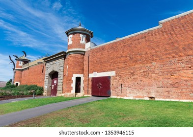 Walls, gate and watchtower of the former Sandhurst Gaol which operated in Bendigo, Australia from 1863 to 2006.