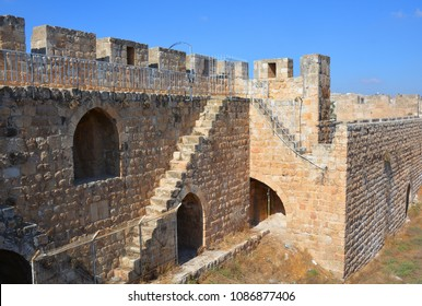 Walls of Jerusalem surround the Old City. In 1535 when Jerusalem was part of the Ottoman Empire, Sultan Suleiman I ordered the ruined city walls to be rebuilt in 4 years