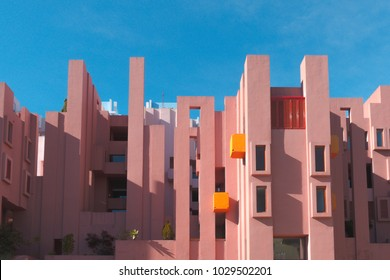 Walls of La Muralla Roja building located in Calpe, Spain
