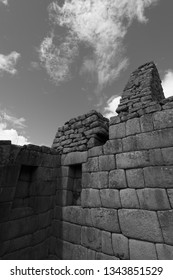 The walls of Machu Picchu in black and white