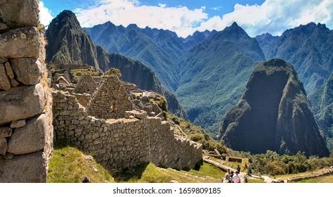 The walls of Machu Picchu, the lost Inca city in Peru