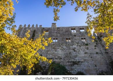 Walls of medieval castle in Guimaraes city, Norte region of Portugal