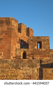 Walls of the Medieval Castle of Silves, in Algarve, Portugal. Travel and vacation destinations