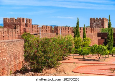 Walls of medieval castle in Silves town, Algarve region, Portugal