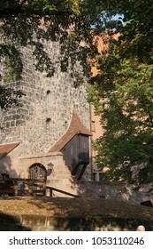 Walls of medieval castle tower in  Nuremberg, Germany