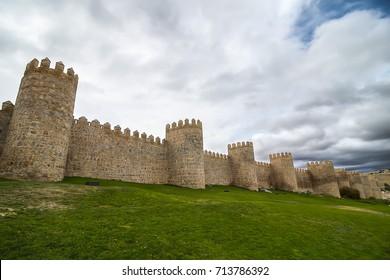 Walls of Medieval city of Avila, Spain
