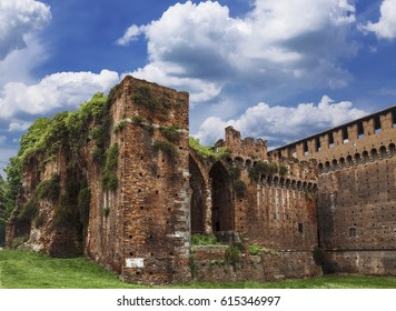 The walls of the medieval fortress of Sforzesco, Milan, Italy