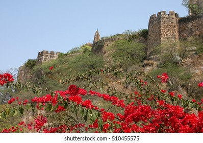 Walls of Moti Dungari fort, which is the temple of Lord Shiva, in the city of Jaipur, Rajasthan, India