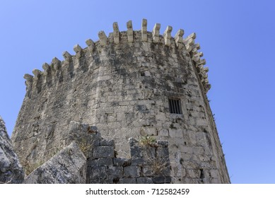 The walls of the old stone fortress. Trogir, Croatia.
