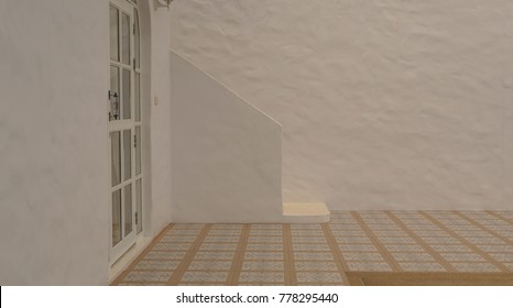 Walls, patterned floors and white staircases create warmth within the family. Concept : Light and shadow create emotions.