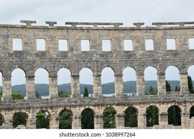 The walls of Pula Arena in Croatia