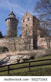 Walls and towers of the Imperial Castle of Nuremberg in Germany
