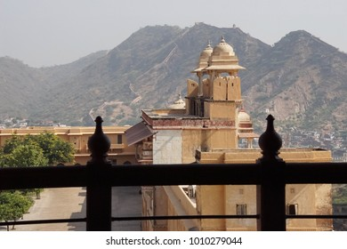 Walls and turrets with hills in background of  Amber Fort near  Jaipur, Rajasthan, India