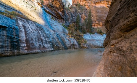 The walls are vertical and sheer, and often red in color. The river runs canyon wall to canyon wall. Tunnel is one of the most popular areas. The Narrows in Zion National Park, Utah, USA