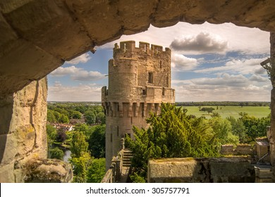 Walls of Warwick Castle in Warwickshire, England.
