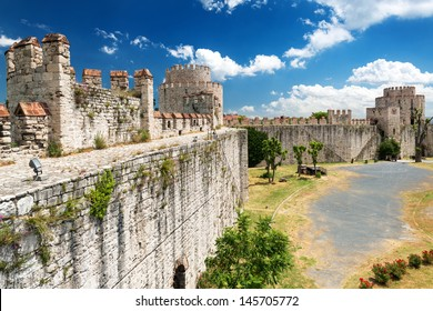 Walls of Yedikule Fortress in summer, Istanbul, Turkey. It is an old landmark of Istanbul. Scenic view of the ancient Constantinople's walls in summer. Panorama of the Byzantine ruins in Istanbul.