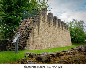 Wallsend, Tyne and Wear  England - May 22 2021: Partly rebuilt section of Hadrians Wall at Wallsend Segedunum Roman Fort.