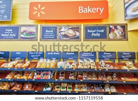 Walmart Bakery Fresh Bread And Donuts Department Saugus Massachusetts USA February 5 2018