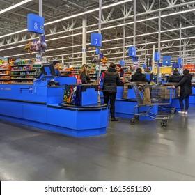Walmart retail store checkout lane customers, Saugus Massachusetts USA, January 6, 2020