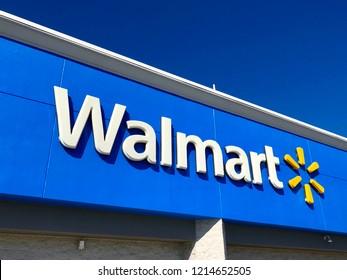 Walmart storefront sign. Saint Augustine, Florida USA. October 27, 2018