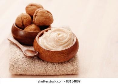 walnut body scrub with towel - beauty treatment