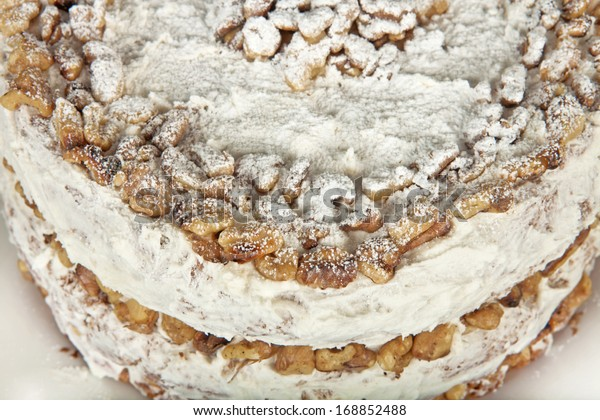 Walnut cake close up.