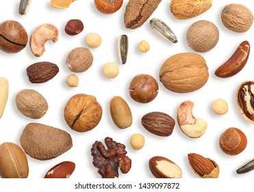 Walnut, cashew, almond, hazelnut and other isolated on white background. Mixed nuts top view.