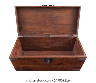 A walnut chest open in frontal high angle view