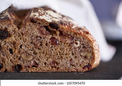 Walnut cranberry raisin dried fruit sourdough bread