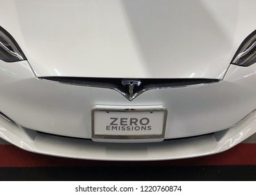 Walnut Creek, CA -OCTOBER 21, 2018: Tesla, Inc. is an American automotive and energy company based in Palo Alto, California, specializing in electric cars.