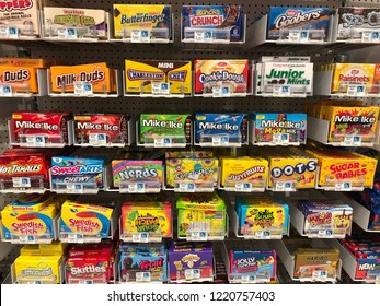 Walnut Creek, CA - OCTOBER 31, 2018: Display of various candy products in store.