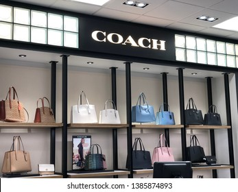 WALNUT CREEK, CA, USA – APRIL 4, 2019: Display of Coach designer handbags. Coach is an American company specializing in luxury accessories such as handbags.