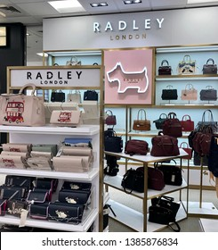 Walnut Creek, CA, USA - APRIL 4, 2019: Display of Radley items for sale. Radley is a London-based accessories brand which designs and manufactures handbags, purses and other women's accessories.