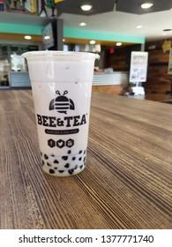 Walnut Creek, CA, USA- June 29, 2018, White chocolate ube boba from Bee & Tea