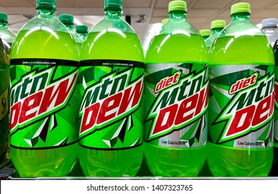 Walnut Creek, CA USA – May 8, 2019: Mountain Dew is a carbonated soft drink brand produced by PepsiCo.