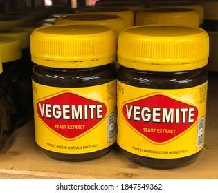 Walnut Creek, CA/USA - OCTOBER 17, 2020: Jars of Vegemite on shelf at store.