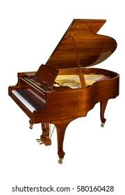 Walnut grand piano isolated on white background