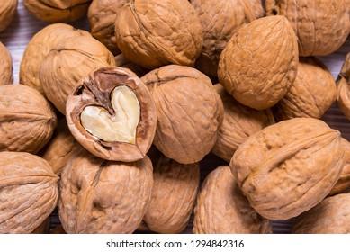 Walnut heard shaped inside