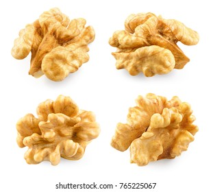 Walnut. Walnut isolated. Nut kernel on white. With clipping path.