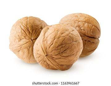 walnut isolated on white background, clipping path, full depth of field