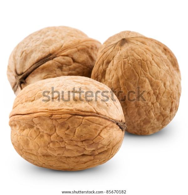 Walnut isolated on white background. Studio macro