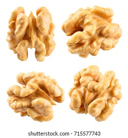 Walnut. Walnut kernel. Nut isolated on white. With clipping path.